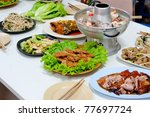 Several Chinese Food on white door in Chinese new year - stock photo