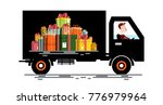 car with driver and gift boxes... | Shutterstock .eps vector #776979964