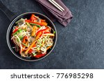 stir fry with udon noodles ... | Shutterstock . vector #776985298