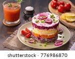Stock photo herring under a fur coat and tomato juice russian national cuisine 776986870