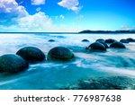 spheric moeraki boulders on the ... | Shutterstock . vector #776987638