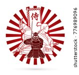 3 samurai composition with flag ... | Shutterstock .eps vector #776989096