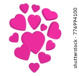 flying pink 3d hearts on white... | Shutterstock .eps vector #776994100