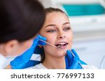 beautiful girl on consultation... | Shutterstock . vector #776997133
