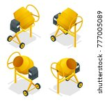 isometric set of concrete mixer ... | Shutterstock .eps vector #777005089