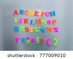 colorful magnetic letters on... | Shutterstock . vector #777009010