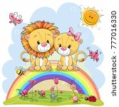 two cute cartoon lions are... | Shutterstock .eps vector #777016330