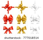 set of red  gold and white bows.... | Shutterstock .eps vector #777018514