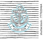 marine logo anchor on a striped ... | Shutterstock .eps vector #777020464