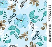 vector seamless pattern flowers ... | Shutterstock .eps vector #777021538