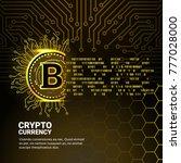golden bitcoin digital currency ... | Shutterstock .eps vector #777028000