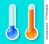 thermometers in flat style ... | Shutterstock .eps vector #777031834