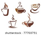 coffee and tea symbols and... | Shutterstock .eps vector #77703751