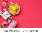 table top view of accessories... | Shutterstock . vector #777042520