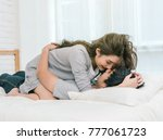 happy asian lover kissing and... | Shutterstock . vector #777061723