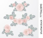 floral frame collection. set of ... | Shutterstock .eps vector #777062890