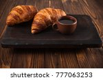 freshly baked croissant with... | Shutterstock . vector #777063253