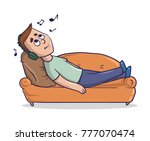 young man lying on a sandy... | Shutterstock .eps vector #777070474