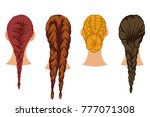 braids hair vector cartoon set... | Shutterstock .eps vector #777071308