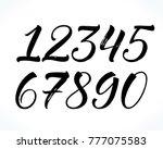 brush lettering numbers. modern ... | Shutterstock .eps vector #777075583