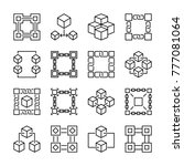 block chain icons. collection... | Shutterstock .eps vector #777081064