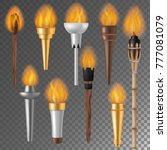 torch flame vector flaming... | Shutterstock .eps vector #777081079