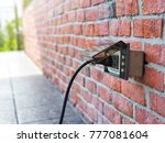 outdoor white electrical outlet ... | Shutterstock . vector #777081604