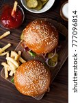 hamburger and french fries on... | Shutterstock . vector #777096814