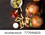 hamburger and french fries on... | Shutterstock . vector #777096820