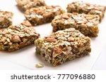 close up of cereal granola bar. ... | Shutterstock . vector #777096880