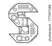 mechanical letter s engraving...   Shutterstock .eps vector #777097288