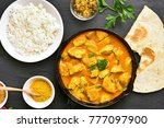 indian chicken curry on black... | Shutterstock . vector #777097900