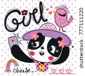 cartoon panda girl wearing... | Shutterstock .eps vector #777111220