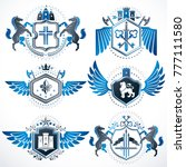 heraldic vector signs decorated ...   Shutterstock .eps vector #777111580