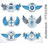 heraldic vector signs decorated ... | Shutterstock .eps vector #777111598