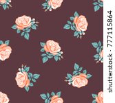 seamless pattern of floral... | Shutterstock .eps vector #777115864