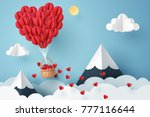 paper art of heart balloon... | Shutterstock .eps vector #777116644