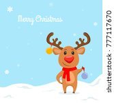 funny reindeer with christmas... | Shutterstock .eps vector #777117670