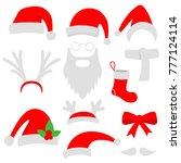 three red santa hats  horns ... | Shutterstock .eps vector #777124114
