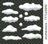 realistic snow  ice caps set... | Shutterstock .eps vector #777125890