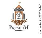 ancient citadel emblem.... | Shutterstock .eps vector #777126160