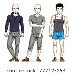 confident handsome men posing... | Shutterstock .eps vector #777127294