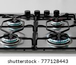 kitchen gas cooker with burning ...