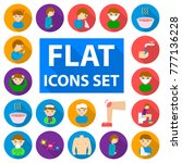the sick man flat icons in set...   Shutterstock .eps vector #777136228