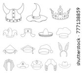 4bb8b138914bc Different kinds of hats outline icons in set collection for design.Headdress  bitmap symbol stock web illustration.