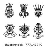 royal symbols lily flowers ... | Shutterstock .eps vector #777143740