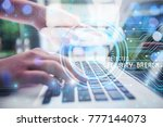 businessman using antivirus on... | Shutterstock . vector #777144073