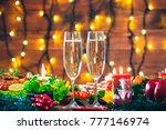 christmas table dinner time... | Shutterstock . vector #777146974