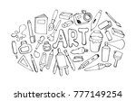 art tools black line icons on... | Shutterstock .eps vector #777149254