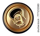 opened golden beer can  top view | Shutterstock . vector #777152080